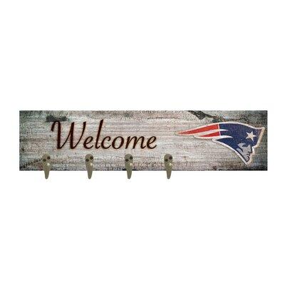 Wall Mounted Coat Rack NFL Team: New England Patriots