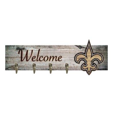 Wall Mounted Coat Rack NFL Team: New Orleans Saints