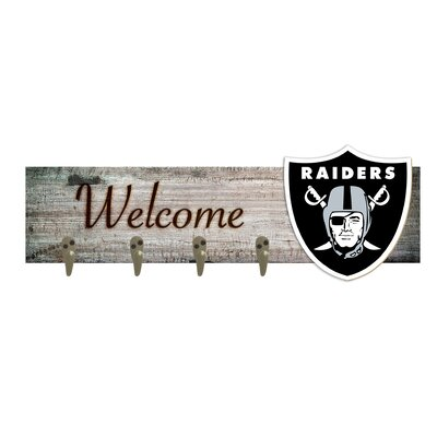 Wall Mounted Coat Rack NFL Team: Oakland Raiders