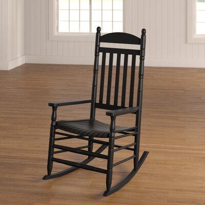 Benton Round Post Slat Back Rocking Chair Color: Black