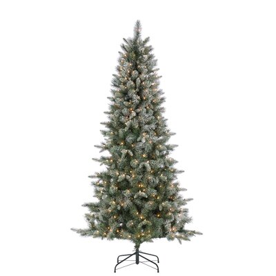 Natural Cut Lightly Flocked 7' Green Pine Artificial Christmas Tree with 400 Clear White Lights with Stand
