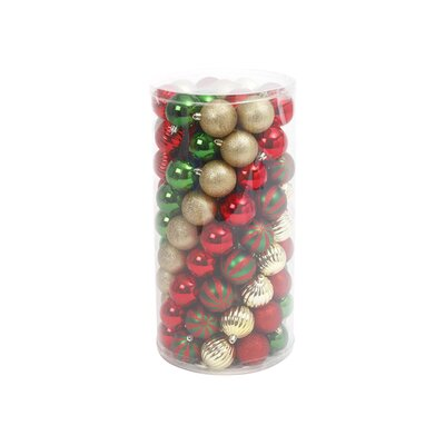 Gold Christmas Ball Ornament Set Color: Green/Red