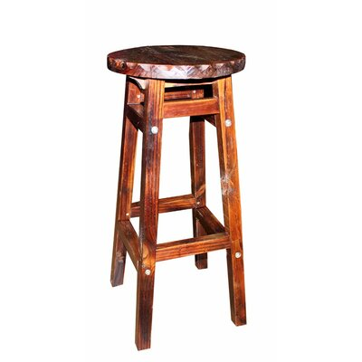 Farah Wooden Round Accent Stool