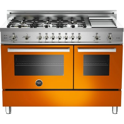 "Pro 48"" Free-standing Gas Range with Griddle Finish: Orange"