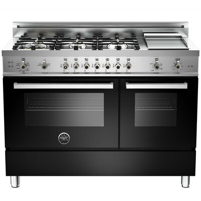 "Pro 48"" Free-standing Gas Range with Griddle Finish: Black"