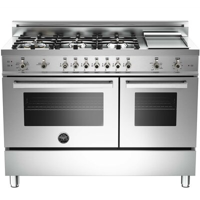 "Pro 48"" Free-standing Gas Range with Griddle Finish: Stainless"