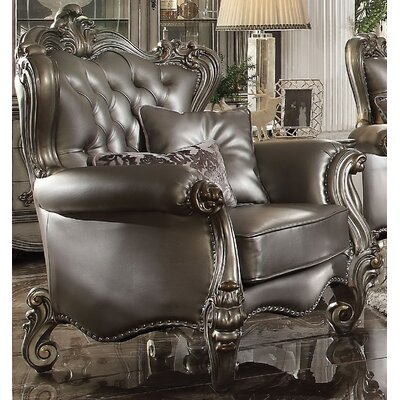 Mendez Club Chair with 2 Pillows Upholstery Color: Silver