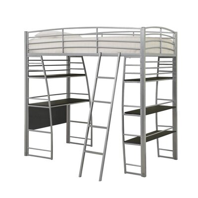 Conkling Twin Workstation Loft Bed with Bookcase Bed Frame Color: Silver