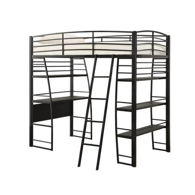 Conkling Twin Workstation Loft Bed with Bookcase Bed Frame Color: Black