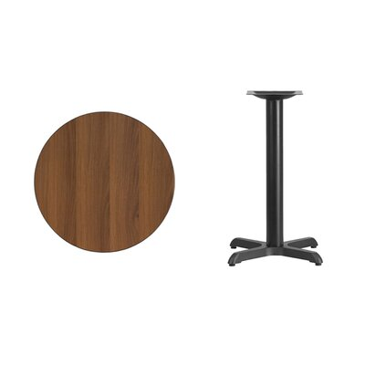 "Lula Round Laminate Dining Table Size: 31.13"" H x 24"" L x 24"" W, Color: Walnut"