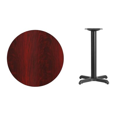 "Lula Round Laminate Dining Table Size: 31.13"" H x 30"" L x 30"" W, Color: Mahogany"