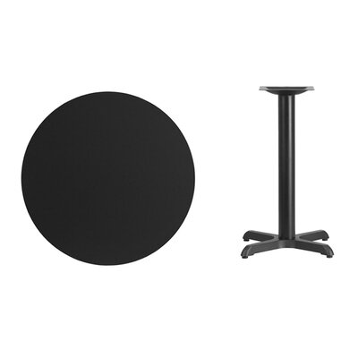 "Lula Round Laminate Dining Table Size: 31.13"" H x 30"" L x 30"" W, Color: Black"