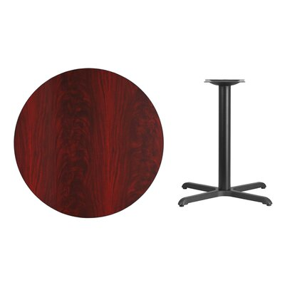 "Lula Round Laminate Dining Table Size: 31.13"" H x 36"" L x 36"" W, Color: Mahogany"