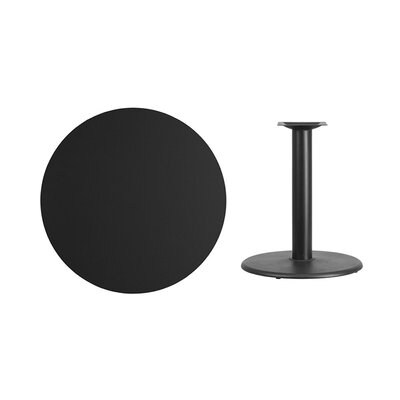 "Lois Round Laminate Dining Table Size: 31.13"" H x 36"" L x 36"" W, Color: Black"
