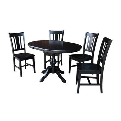 Damien 5 Piece Extendable Dining Set Color: Black