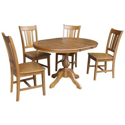 Damien 5 Piece Extendable Dining Set Color: Pecan