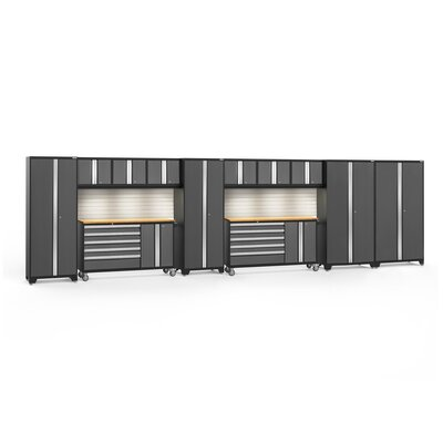 Bold 3.0 12 Piece Complete Storage System Worktop Material: Bamboo, Finish: Gray, Lighting: No Light