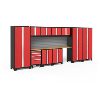 Bold 3.0 12 Piece Complete Storage System Lighting: LED Light, Finish: Red, Worktop Material: Stainless Steel