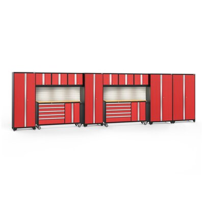 Bold 3.0 12 Piece Complete Storage System Lighting: No Light, Finish: Red, Worktop Material: Stainless Steel