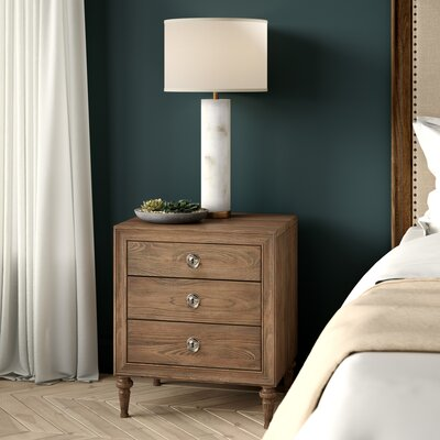 Hagans Traditional Style 3 Drawers Wood Nightstand