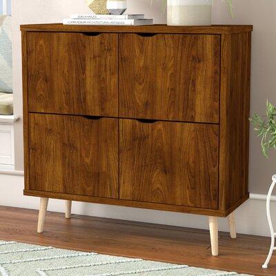 Waltrip Mid Century 4 Door Accent Cabinet Color: Brown