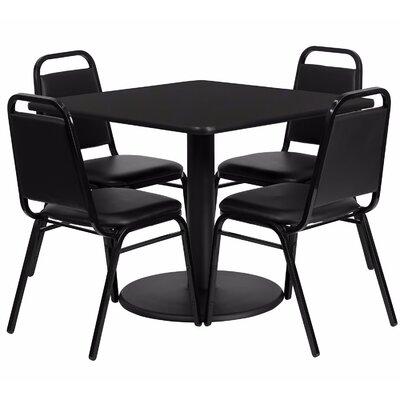 Maverick Square Laminate 5 Piece Dining Set Table Top color: Black