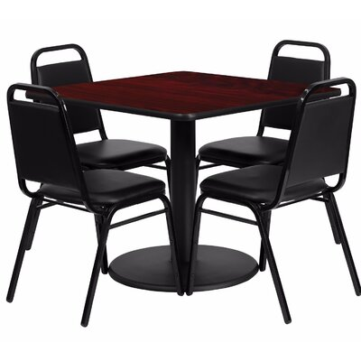 Maverick Square Laminate 5 Piece Dining Set Table Top color: Mahogany