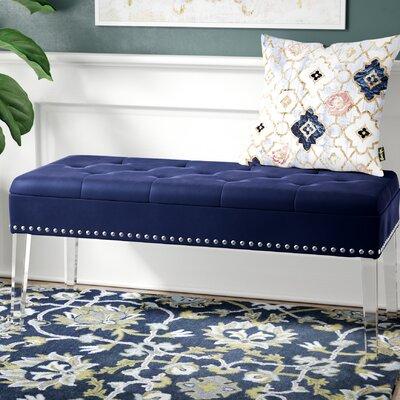 Esmeyer Tufted Mid-Century Nailhead Trim Upholstered Storage Bench Upholstery: Navy/Blue