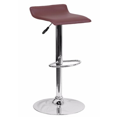Joshua Adjustable Height Swivel Bar Stool Color: Burgundy