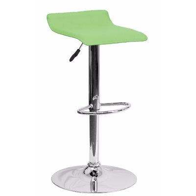 Joshua Adjustable Height Swivel Bar Stool Color: Green