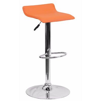 Joshua Adjustable Height Swivel Bar Stool Color: Orange
