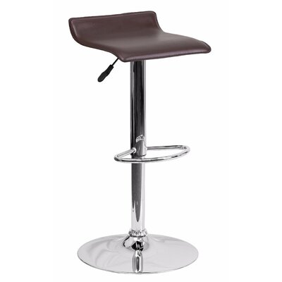 Joshua Adjustable Height Swivel Bar Stool Color: Brown