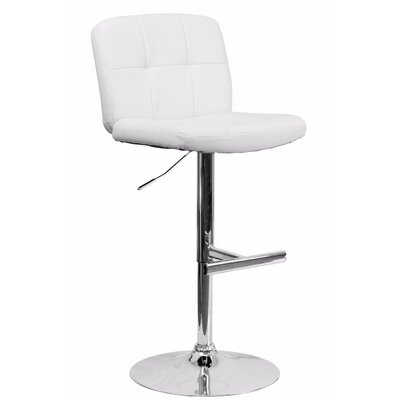 Reuben Adjustable Height Swivel Bar Stool Color: White