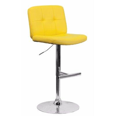 Reuben Adjustable Height Swivel Bar Stool Color: Yellow