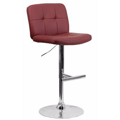 Reuben Adjustable Height Swivel Bar Stool Color: Burgundy