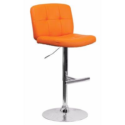 Reuben Adjustable Height Swivel Bar Stool Color: Orange
