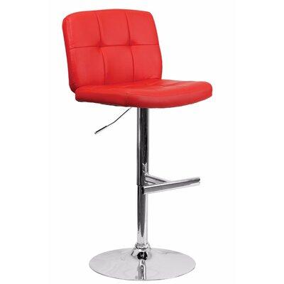 Reuben Adjustable Height Swivel Bar Stool Color: Red