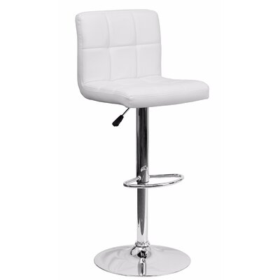 Cyrus Adjustable Height Swivel Bar Stool Color: White
