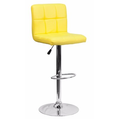 Cyrus Adjustable Height Swivel Bar Stool Color: Yellow