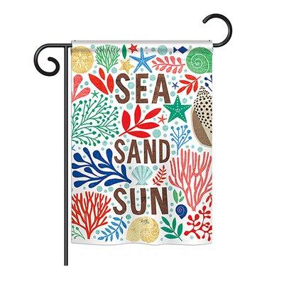 "Sea Sand Sun Coastal 2-Sided Polyester Garden Flag Size: 28"" H x 40"" W"