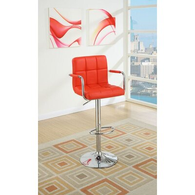 Sigourney Adjustable Swivel Bar Stool Color: Red
