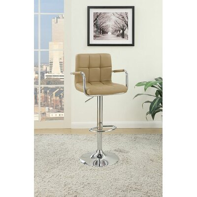 Sigourney Adjustable Swivel Bar Stool Color: Brown