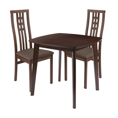 Skipworth 3 Piece Dining Set Chair Color: Brown, Table Color: Walnut