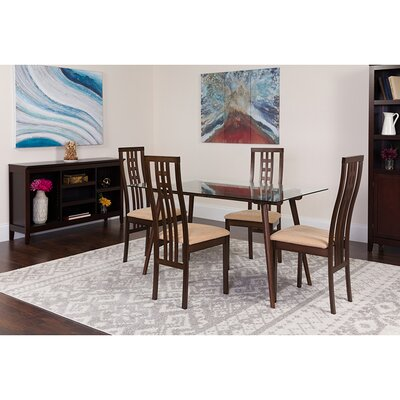 Skelly 5 Piece Dining Set Chair Color: Beige
