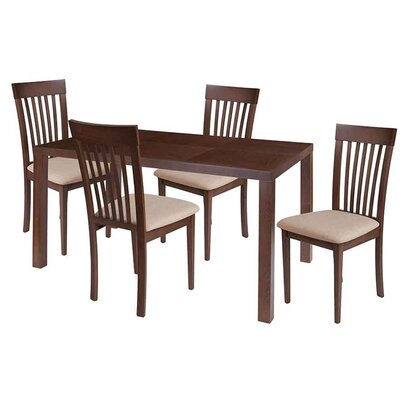 Sklar 5 Piece Dining Set Chair Color: Brown, Table Color: Espresso