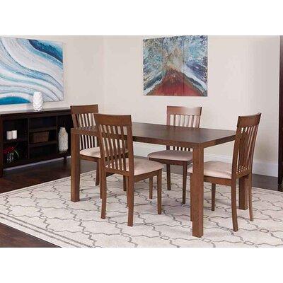 Sklar 5 Piece Dining Set Chair Color: Cream, Table Color: Walnut
