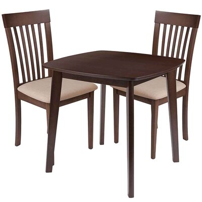 Skidmore 3 Piece Dining Set Chair Color: Beige, Table Color: Espresso