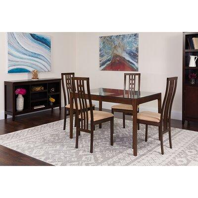 Snedeker 5 Piece Dining Set Chair Color: Beige, Table Color: Espresso