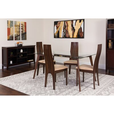 Indie 5 Piece Dining Set Chair Color: Beige, Table Color: Espresso