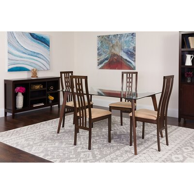 Slye 5 Piece Dining Set Chair Color: Brown, Table Color: Espresso